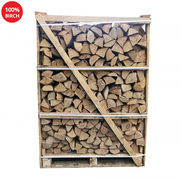 Kiln Dried Firewood Logs - 100% Birch - Large Crate - Equivalent to approx 3.5 bulk bags. Crate size 1500 H x 1050 W x 1100 D