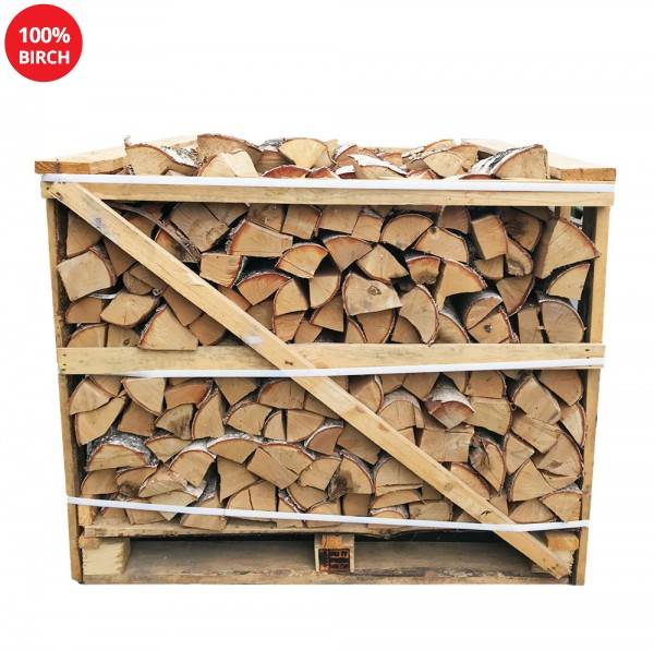 Kiln Dried Firewood Logs - 100% Birch - Half Crate - Equivalent to approx 2 Bulk bags . Crate size 800 H x 1050 W x 1100 D
