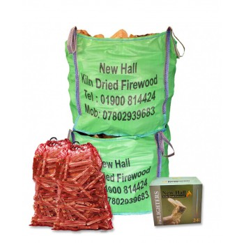 Winter Deal - 2x Large Bulk Bags - Kiln Dried Softwood - Combo Deal -Bulk bag dimensions 85 cm x 85 cm x 85 cm