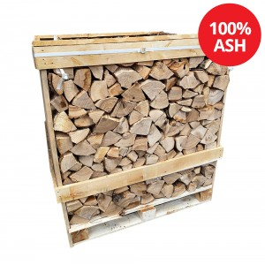Kiln Dried Firewood Logs - 100% Ash - Medium Crate - Equivalent to approx 2.5  bulk bags . Crate size 1200 H x 1150 W x 1100 D - WS601/00001